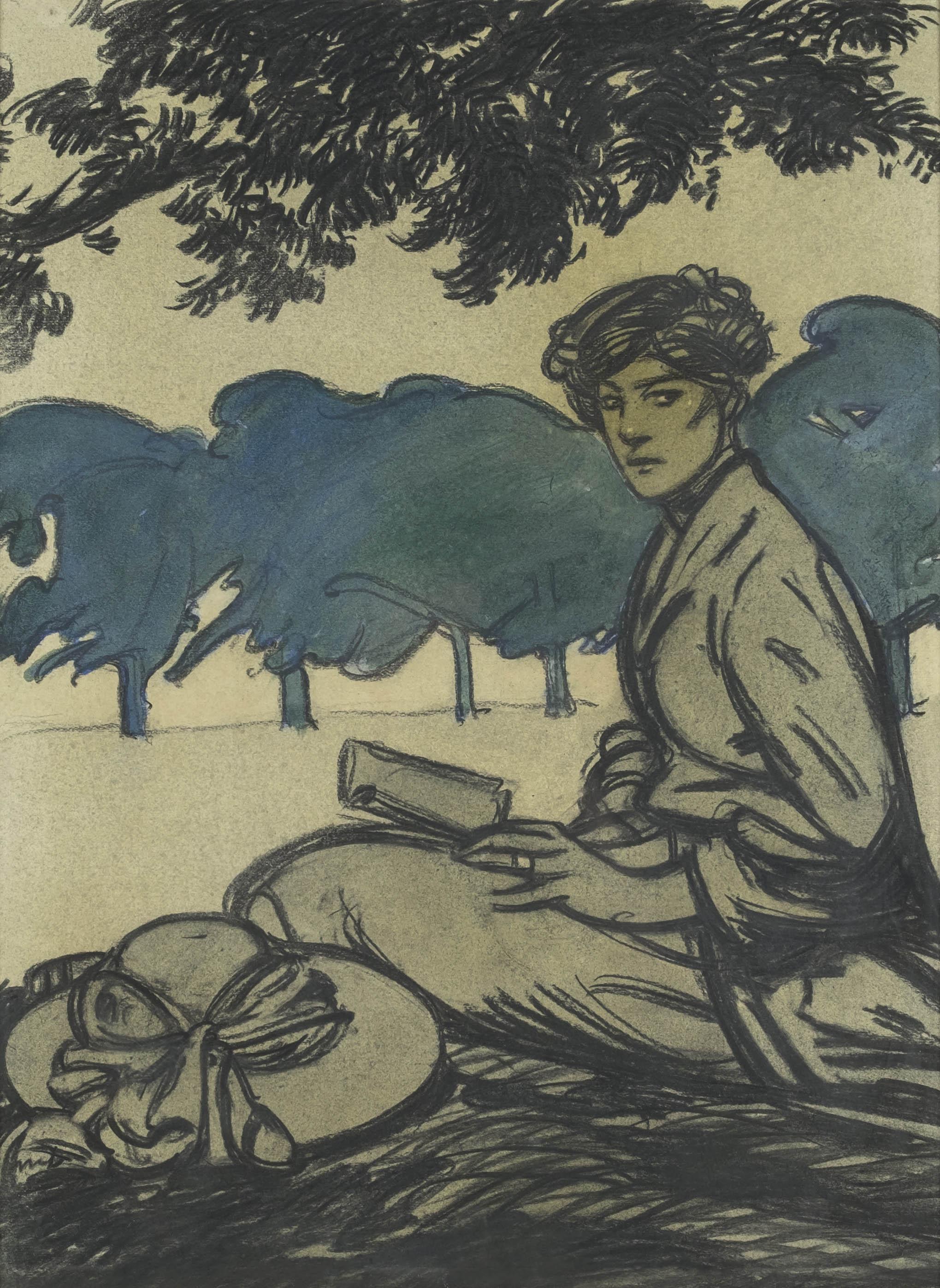 Femme assise dans un parc