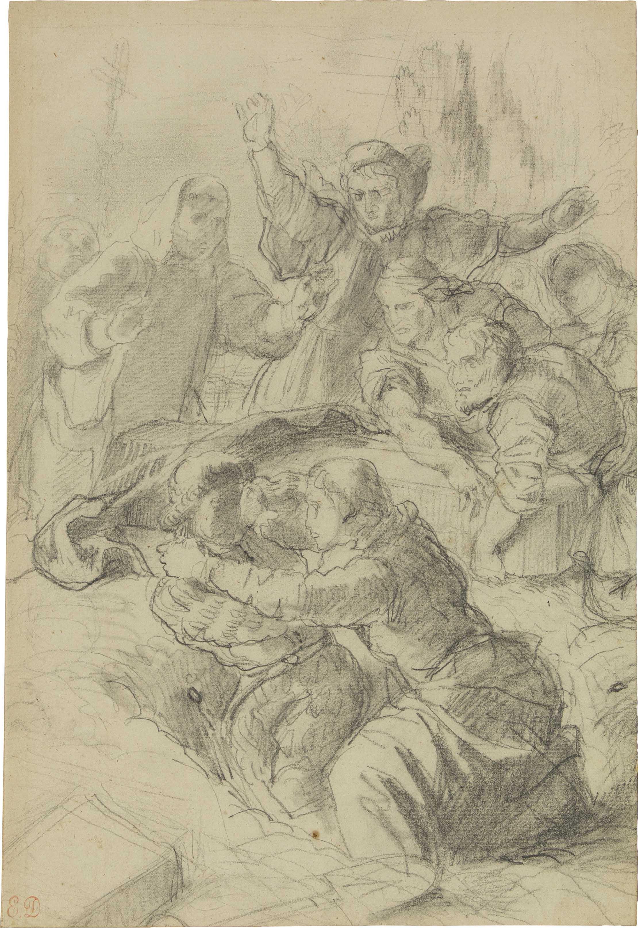 Hamlet et Laertes dans la fosse d'Ophélie