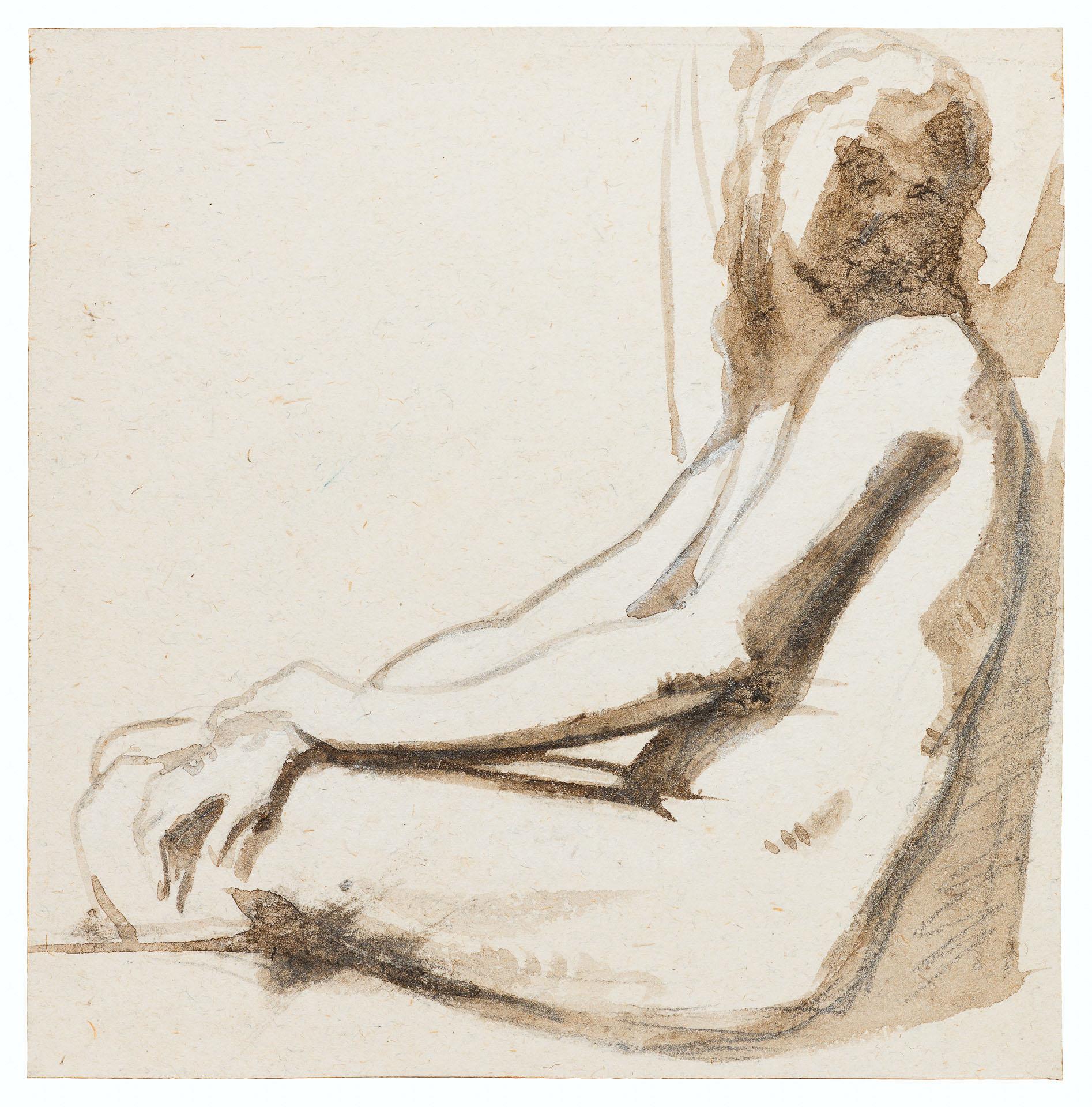 Etude de femme nue adossée de profil