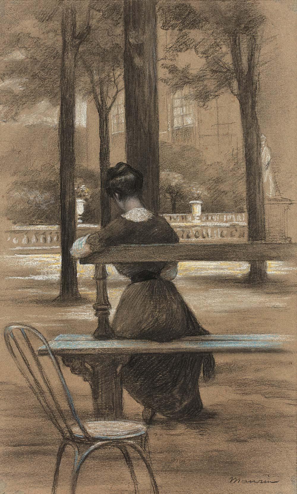 Jeune femme assise au jardin du Luxembourg
