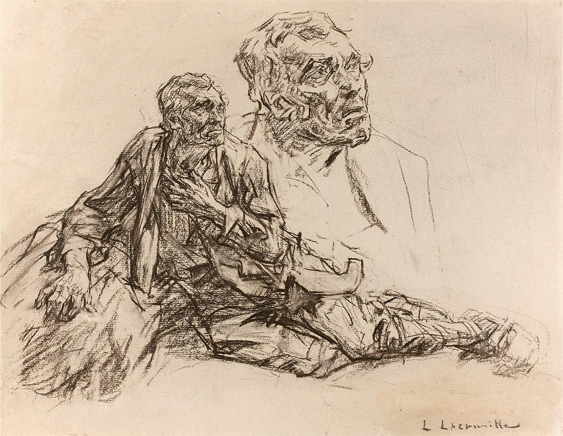 Étude de figure et de visage, préparatoire à La Mort et le Bûcheron