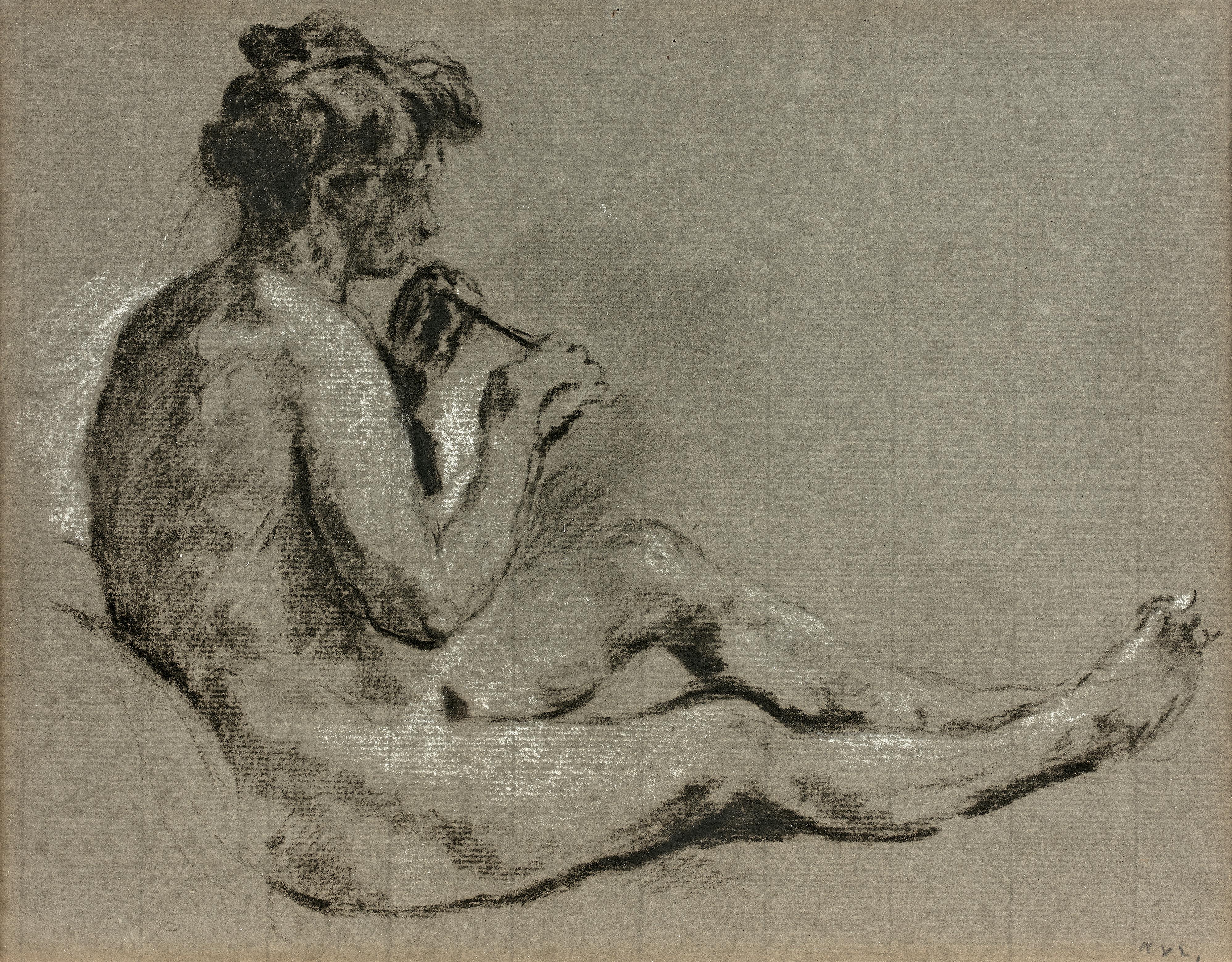 Faune assis jouant de la flûte