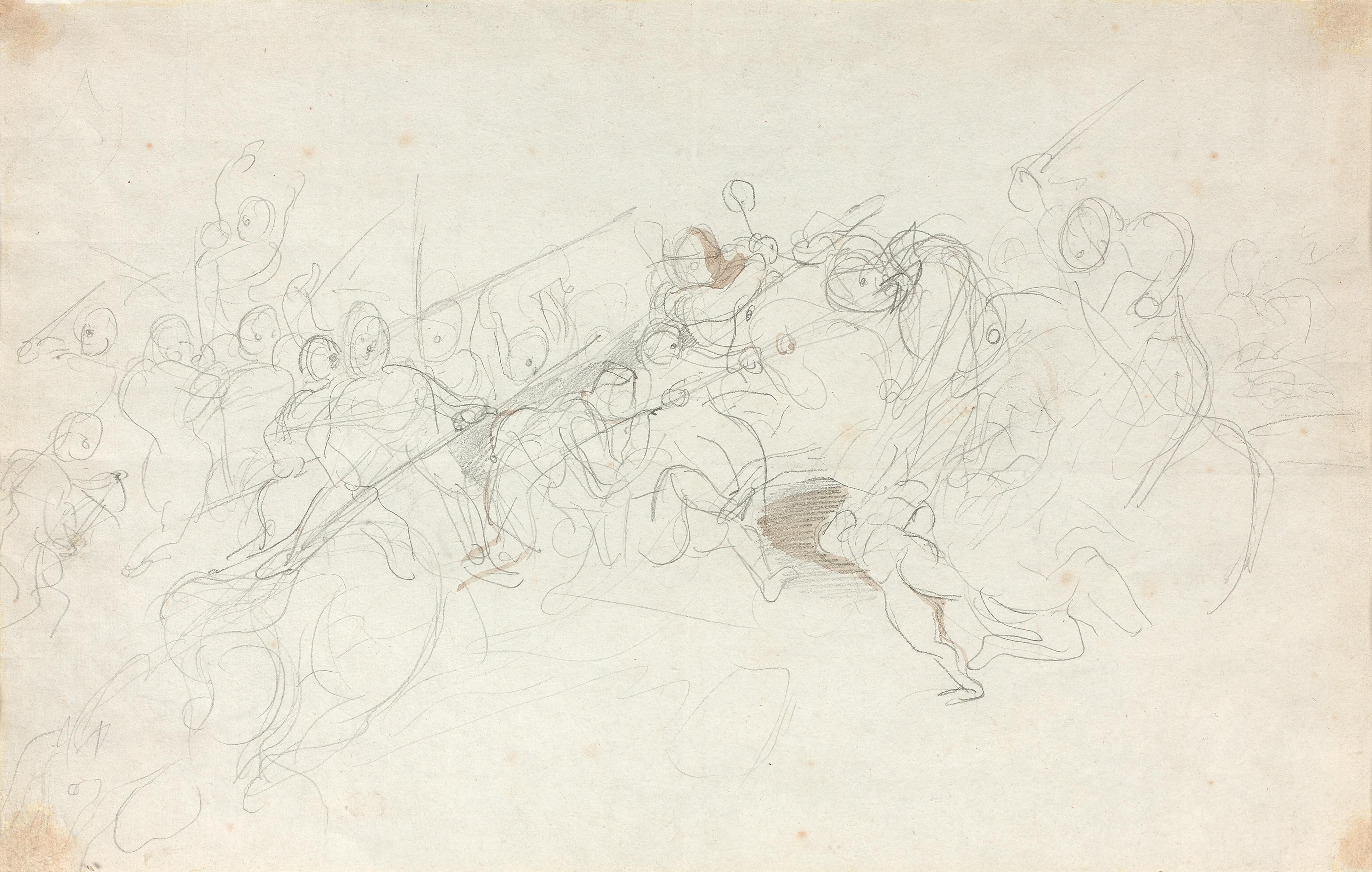 Scène de bataille, étude préparatoire pour La Bataille de Nancy (Recto)